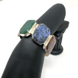 Sterling silver, multi-gemstone bracelet, 145.9g